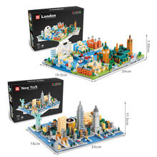 2019 New Architecture Bricks Diamond City Street View Blocks Mirco York and London Toys for Kids Educational Toy