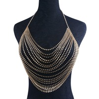 LiuJee Full Crystal Body Chain Jewelry Women Sexy Chain Bra Beach Bikini Harness Chain Necklace Bralette