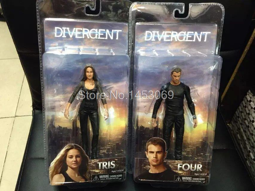 2pcs/lot NECA 2014 Movie Divergent Tris & Four Action Figure Collectible Model Toys 7 18CM WF078 hot sale neca classic movie boxer rocky sylvester stallone with us national flag 18cm action figure toys new box