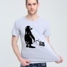 28ee7a3bd LINUX UBUNTU OZF PINGUIM T-shirt Top de Lycra de Algodão camisa Dos Homens T