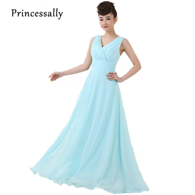 Long Light Blue Dress Bridesmaid Dress Chiffon Formal Dresses Of