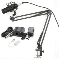 New BM800 Professional 3.5mm Wired Condenser Studio Microphone with Stand Holder +Pop Filter