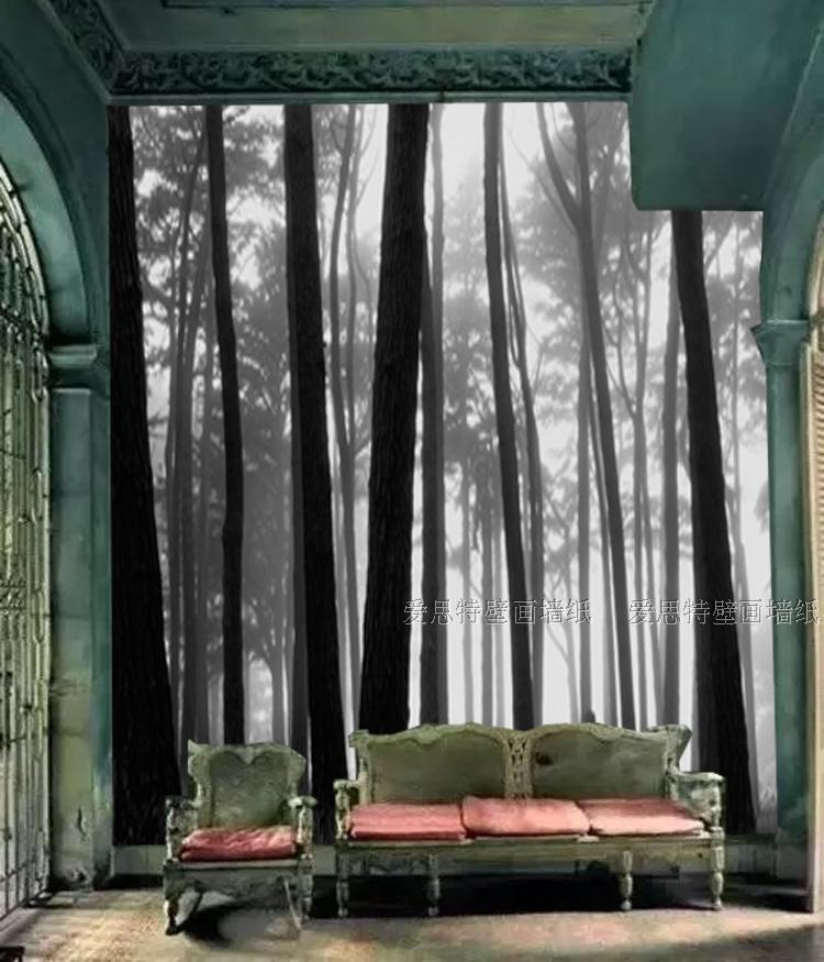 Free Shipping Fantasy forest bedroom TV background mural wallpaper European black and white woods wallpaper  free shipping hepburn classic black and white photos wallpaper old photos tv background wall mural wallpaper
