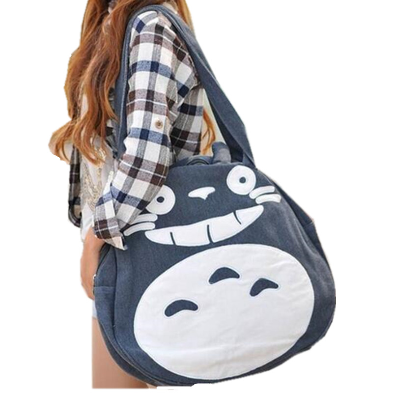 2017 Japan Funny Totoro Bag Cute Women's Handbags Large Ladies Canvas Bag Cartoon Shoulder School Bags for Teenage Girls L989