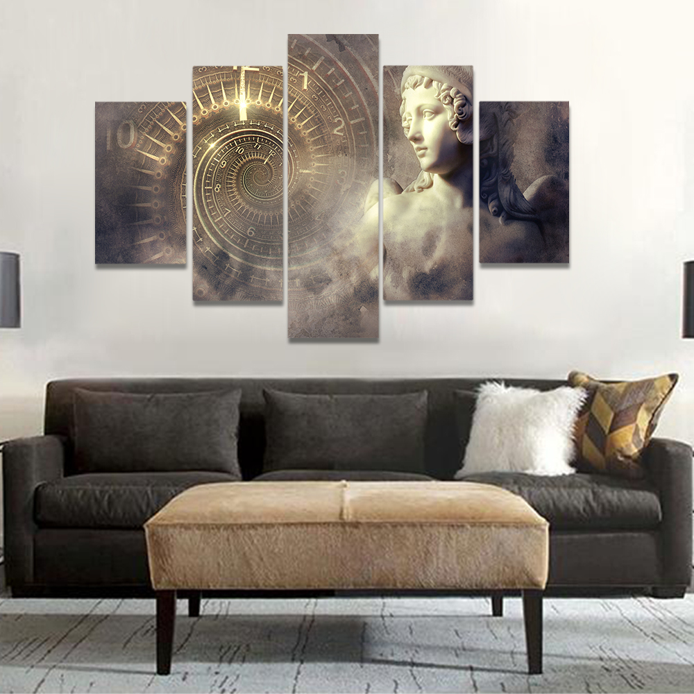 Unframed Canvas Art Painting Rotating Clock Angel Statue Prints Wall Pictures For Living Room Wall Art Decoration Dropshipping