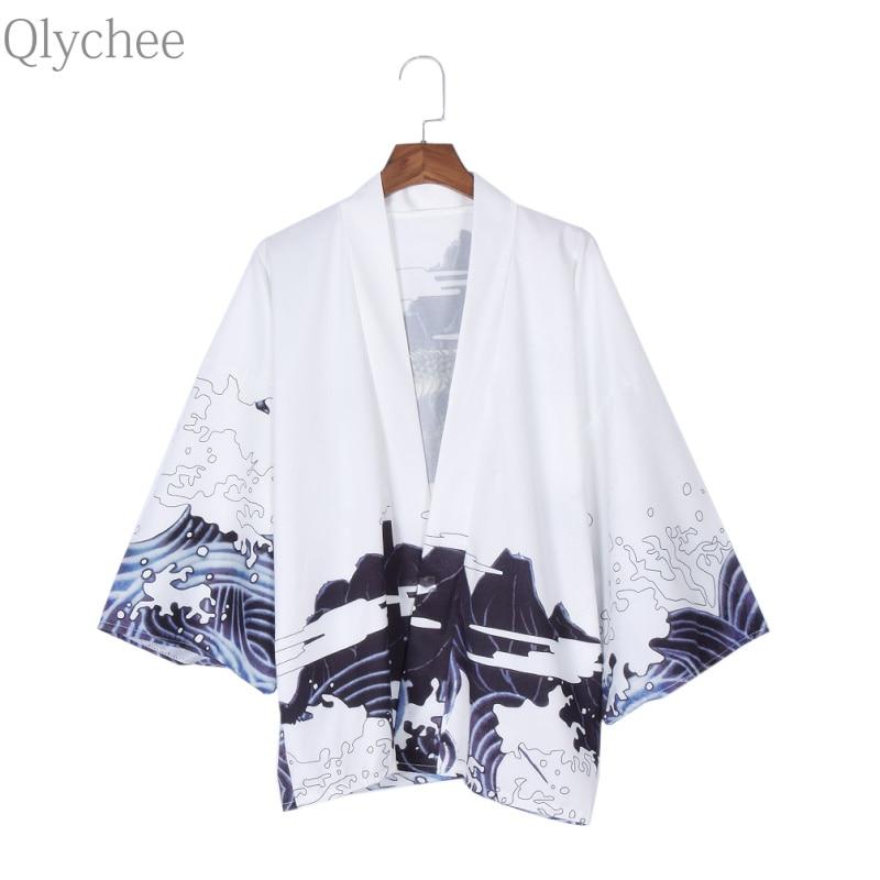 Qlychee Vintage ljeto vrhovima Dragon ispisuje Harajuku Kimono Soft - Ženska odjeća - Foto 3