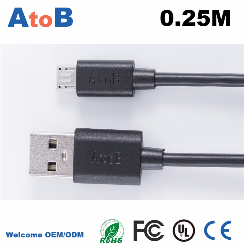 High Quality 0.25M 1Feet  Full Copper Mini USB Cable Micro USB Charging Cable for Samsung galaxy S4 S3 i9500 i9300 BlackBerry HT