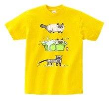 Cute Persian cats children cotton T-shirts boys and girls like animals T-shirt bathing kittens 100% casual T MJ