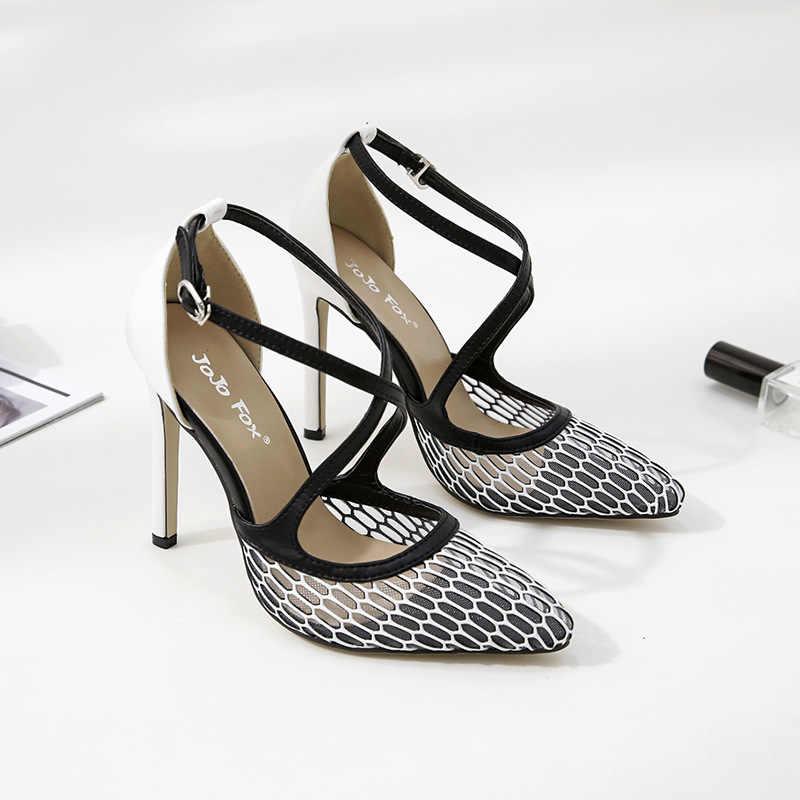 Schuhe frauen 2019 frühjahr und sommer mode neue mesh farbe passenden zeigte einzelne schuhe stiletto flach mund hohlen sexy schuhe
