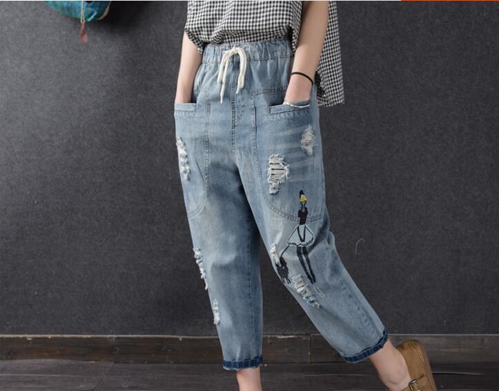 7dcaa16dfa7c 2018 джинсы с высокой талией женские рваные женские джинсовые шаровары  брюки из ...