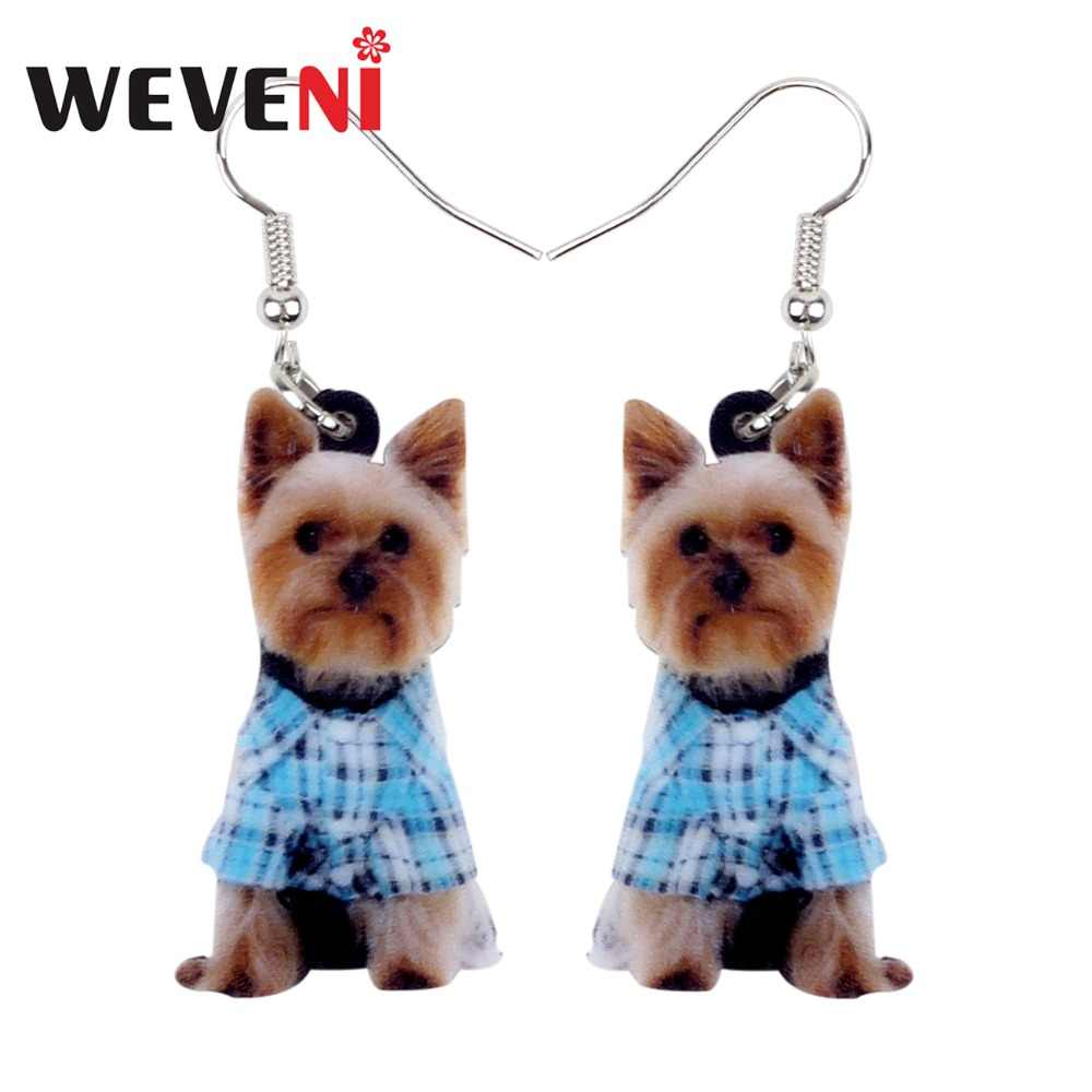 WEVENI Original Acrylic Lovely Yorkshire Terrier Dog Earrings New Long Dangle Drop Animal Jewelry For Women Girls Brincos Female