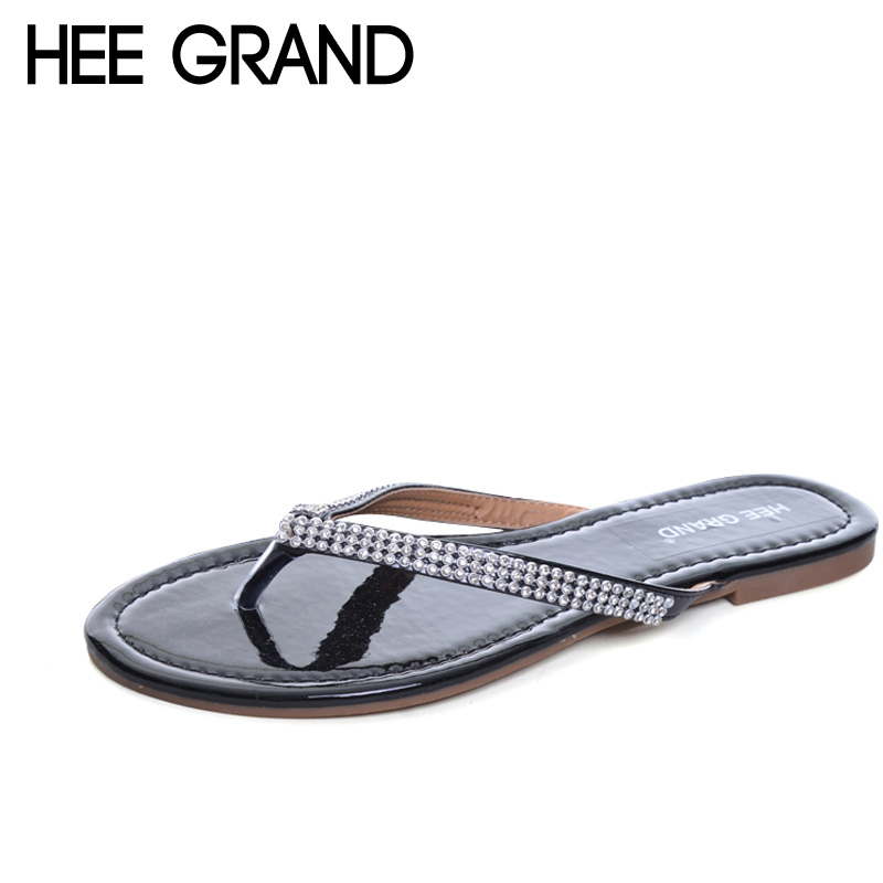 HEE GRAND 2017 Crystal Flip Flops Casual Summer Gladiator Slides Beach Slip On Flats Platform Shoes Woman Slippers XWZ4353 hee grand summer gladiator sandals 2017 new platform flip flops flowers flats casual slip on shoes flat woman size 35 41 xwz3651