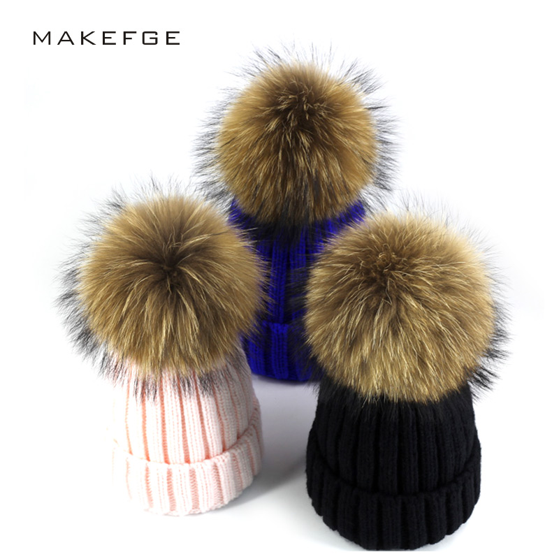 Real Fur Winter Hat Raccoon Pom Pom Hat For Women Brand Thick Women Hat Girls Caps Knitted Beanies Cap Wholesale  2017 new style