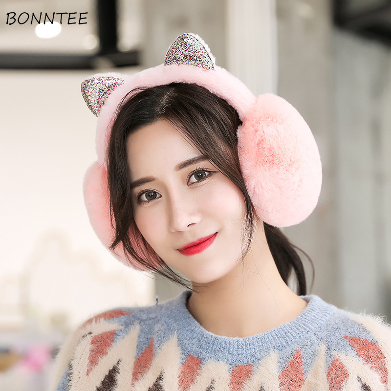Earmuffs Women 2019 Winter Elegant Students Kawaii Womens Ear Warmers Cotton Plush Lovely Cat Ears Ladies Earmuff Antifreeze