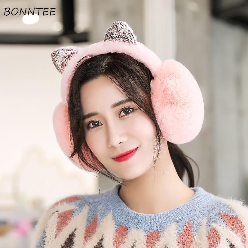 Earmuffs Women 2019 Winter Elegant Students Kawaii Womens Ear Warmers Cotton Plush Lovely Cat Ears Ladies Earmuff Antifreeze