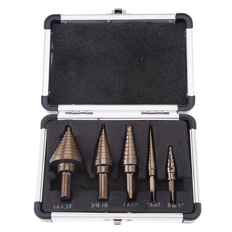 5pcs/set Step Drill Bit Drill Multiple Hole Step Drill Cone with Case For Metal Wood Hole Cutter Step Cone Drill Bit Set jelbo 3pc step drill hole countersink cone cutting tools drill bit set for wood metal power tools set hole cutter power tools