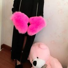 The new whole skin fox fur gloves Ms autumn and winter warm gloves fashion fur mittens
