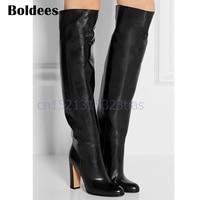 Fall Winter Women Black Soft Leather Chunky High Heeled Knee High Botas Mujer Fashion Slip On