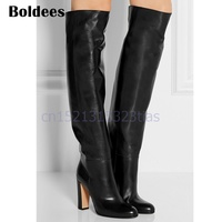 Fall Winter Women Black Soft Leather Chunky High Heeled Knee High Botas Mujer Fashion Slip On Boots Shoes