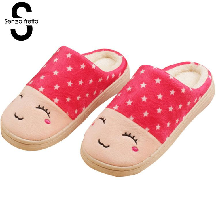 Senza Fretta Winter Women Slippers Plush Warm Soft Slippers Cotton Cute Lovers Home Slippers Indoor Shoes Woman Plush Size autumn winter slippers 2017 women s slippers winter flats cotton sheep lovers home slippers indoor plush size house shoes woman