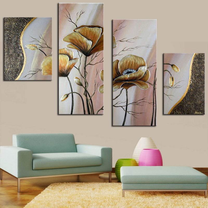 Hand Painted Modern Abstract Home Wall Art Decor Golden Flower Group Oil Painting 4 Panel On