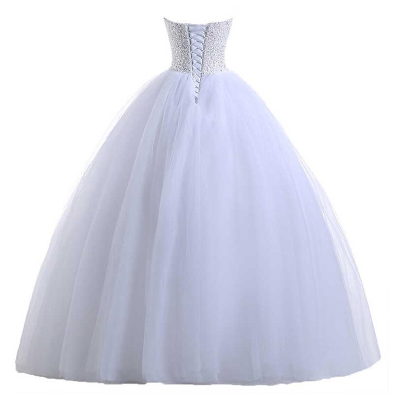 NIXUANYUAN реальные фотографии принцесса белый слоновая кость Тюль бальное платье свадебное платье 2018 бисером свадебное платье «любимая» vestido de noiva