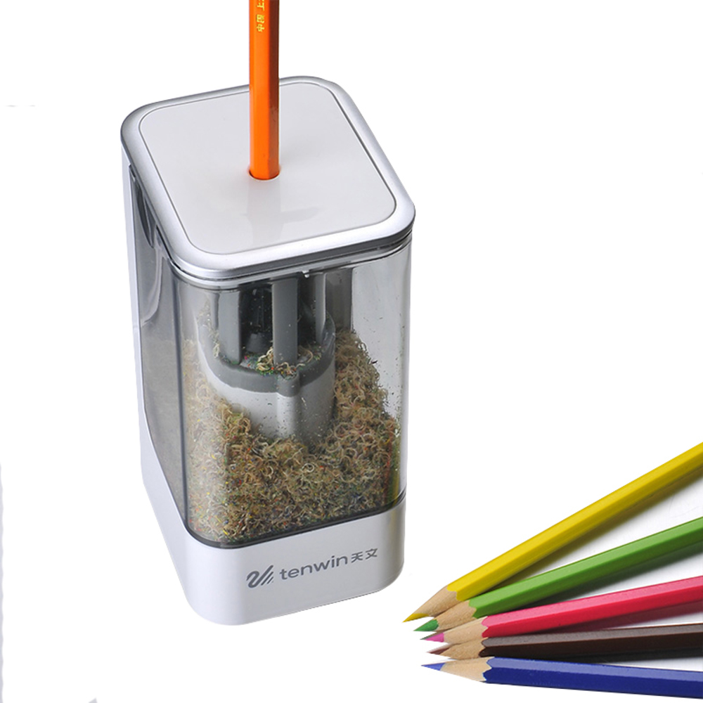 TENWIN 8006 New High Quality Automatic and Electric Pencil Sharpener One Hole Plug In Use Safety For Kids school supplies