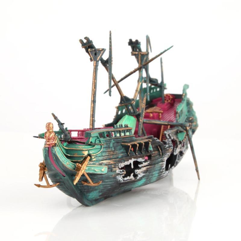 Large Aquarium Decoration Boat Ship Air Split Shipwreck ...
