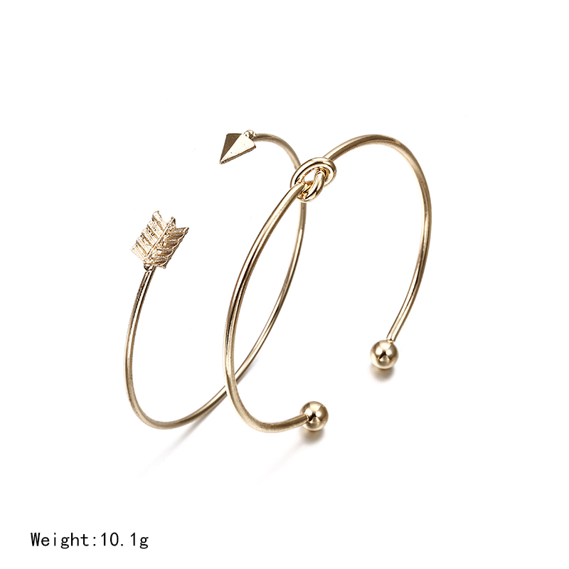 Vintage Cuff Bracelet Bangles for Women Brief Gold Color Open Arrow Knotted Charms Bracelet Jewelry valentines Gift ns54 2