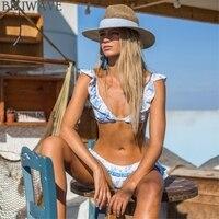 New Blue Print Bathing Suit Brazilian Biquini Sexy Deep V Flouncing Swimwear Bikinis Set 2018 Retro