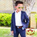 Azul Royal Meninos Portador de Anel Ternos Meninos Terno Smoking Casamento Formal Traje Criança Crianças Smoking Terno Trajes Festivos Para Meninos