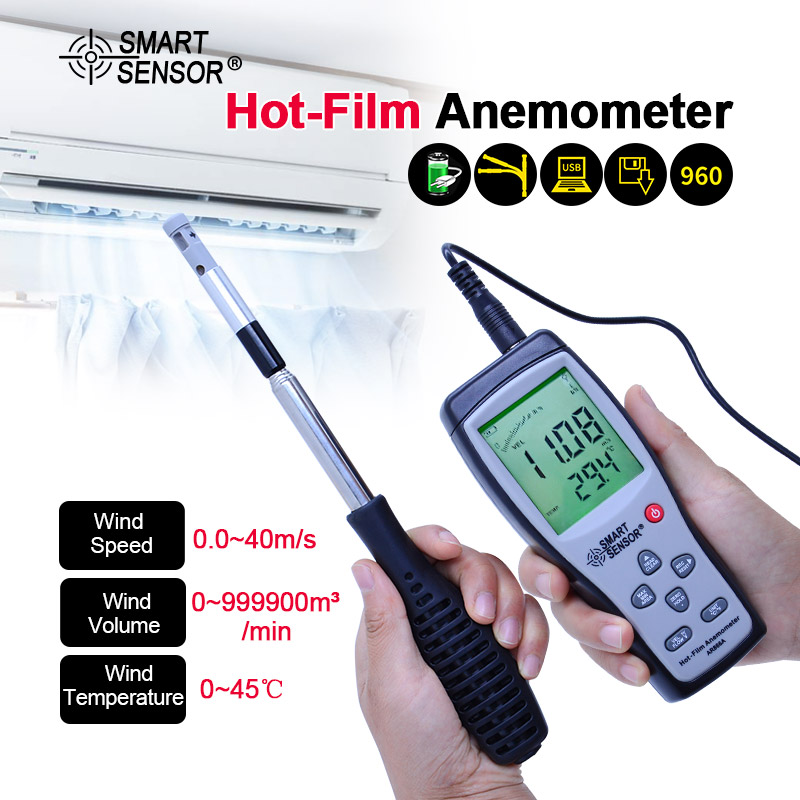 AR866A 0 0 30M S Hot Wire Thermo Anemometer Air Flow Velocity Meter 0 9999m3 min