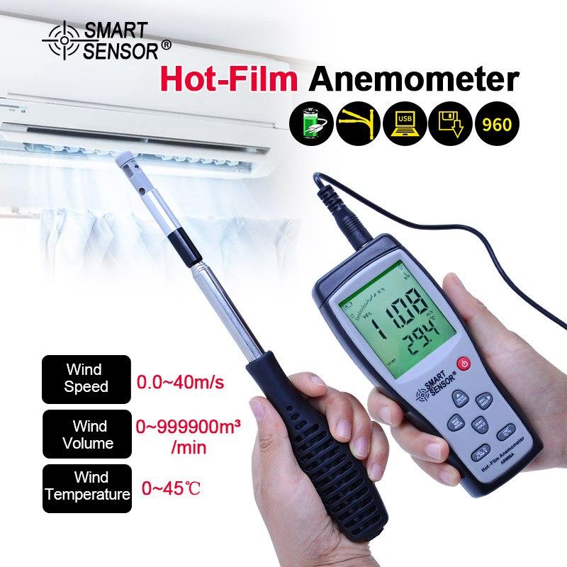 Compteur de vitesse de débit d'air thermo-anémomètre à fil chaud AR866A 0.0-30 M/S 0 ~ 9999m3/min anémomètre thermique compteur de vitesse du vent avec USB