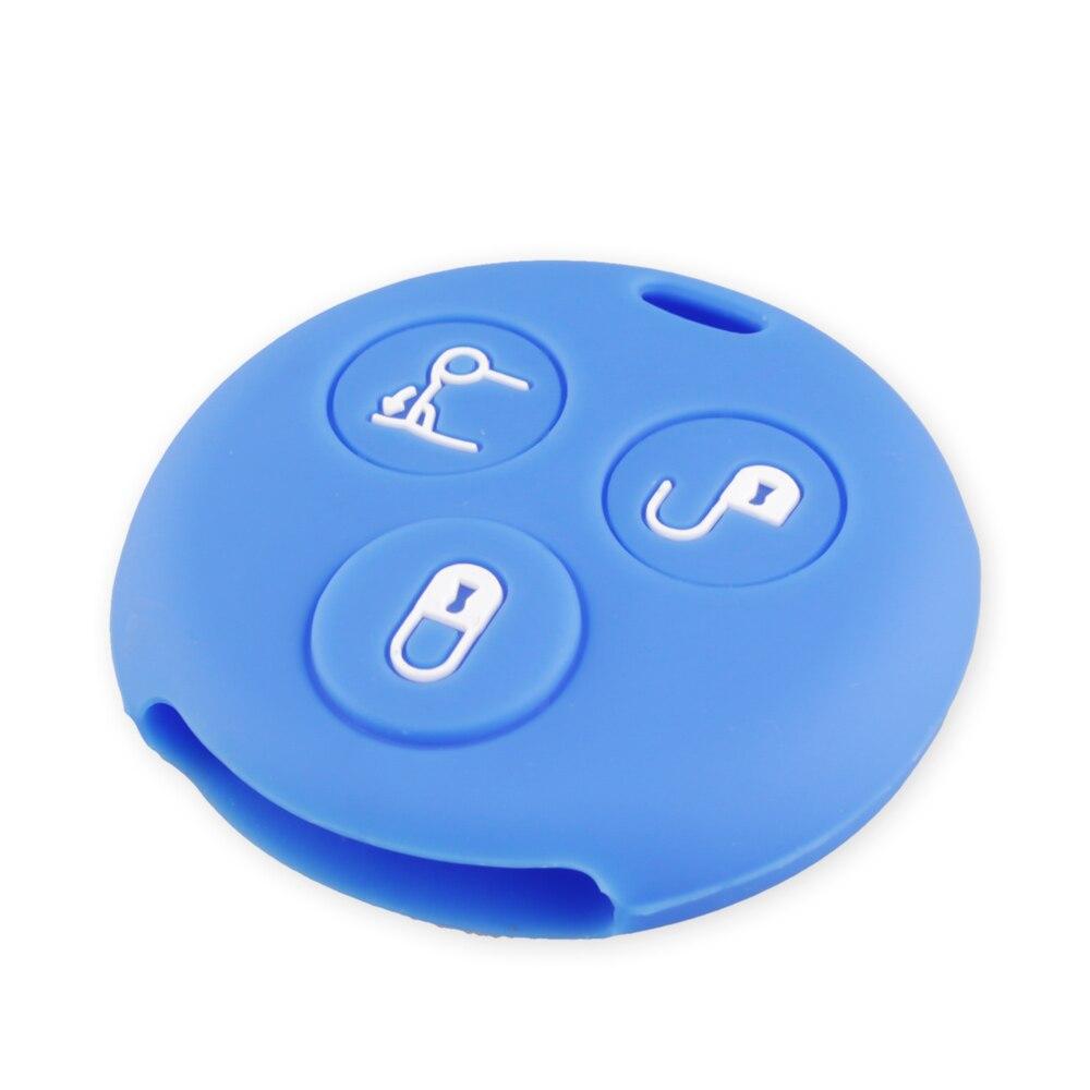 KEYYOU, 3 кнопки, силиконовый чехол для автомобильных ключей, брелок, чехол для Mercedes Benz Smart City Roadster Fortwo, чехол для ключей, автомобильный стиль - Название цвета: BLUE