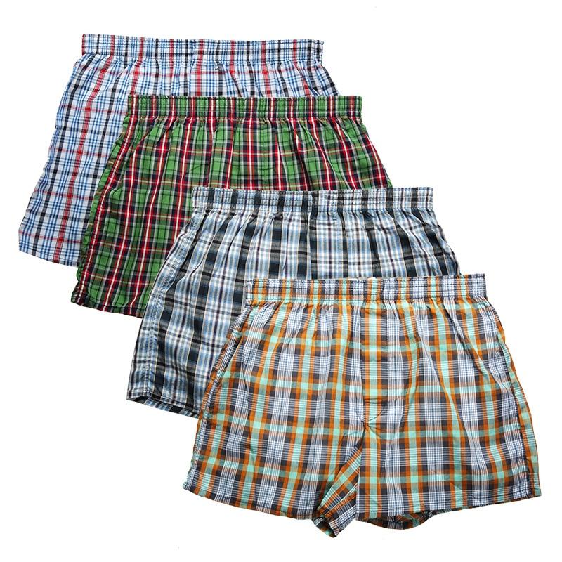 Haute qualité marque 4-Pack hommes Boxer Shorts tissé coton 100% classique Plaid peigné mâle sous-pantalon ample respirant surdimensionné
