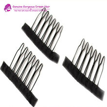 AliExpress Stand shipping 10pieces/lot wig accessories wholesale black Hair Combs attach to wig caps for make wig caps use clips(China)