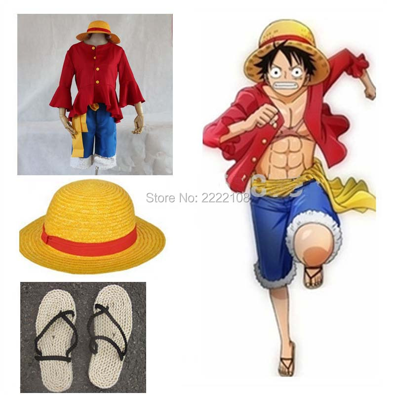 New One piece Costume Cosplay,One piece Monkey D. Luffy cosplay Halloween Costume Set T Shirt+Pants+Hat+belt+shoes,Free shipping