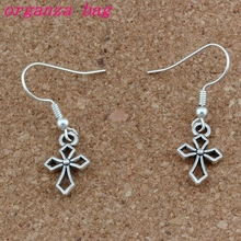 Hlollow Cross Charm Earrings Silver plated Fish Ear Hook 30pairs/lot Antique Chandelier Jewelry 10x35mm A-277e