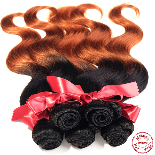 EVET Malaysia Body Wave Two Tone Human Hair 1pcs Malaysia Ombre Virgin Hair Unprocessed Human Hair Extensions Wefts 50g/pcs