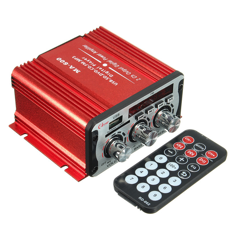 USB SD DVD CD FM MP3 Цифровой СВЕТОДИОДНЫЙ Дисплей Мотоциклов Автомобильный Усилитель 20 Вт + 20 Вт 12 В Автомобиля аудио Усилитель Стерео MA-600