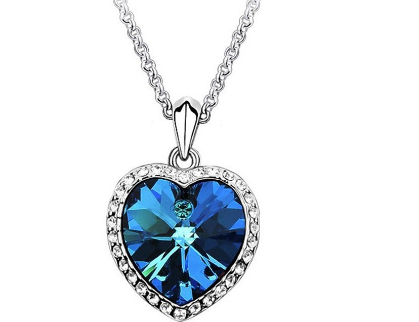 Free Shipping Wholesale Romantic Jewelry Titanic Blue Love Vintage Crystal  Heart Pendant Necklace For Women