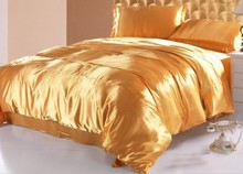 Gold Silk Comforter Bedding sets Satin Luxury quilt duvet cover bed in a bag sheet bedspread King Queen size Full Twin 5pcs