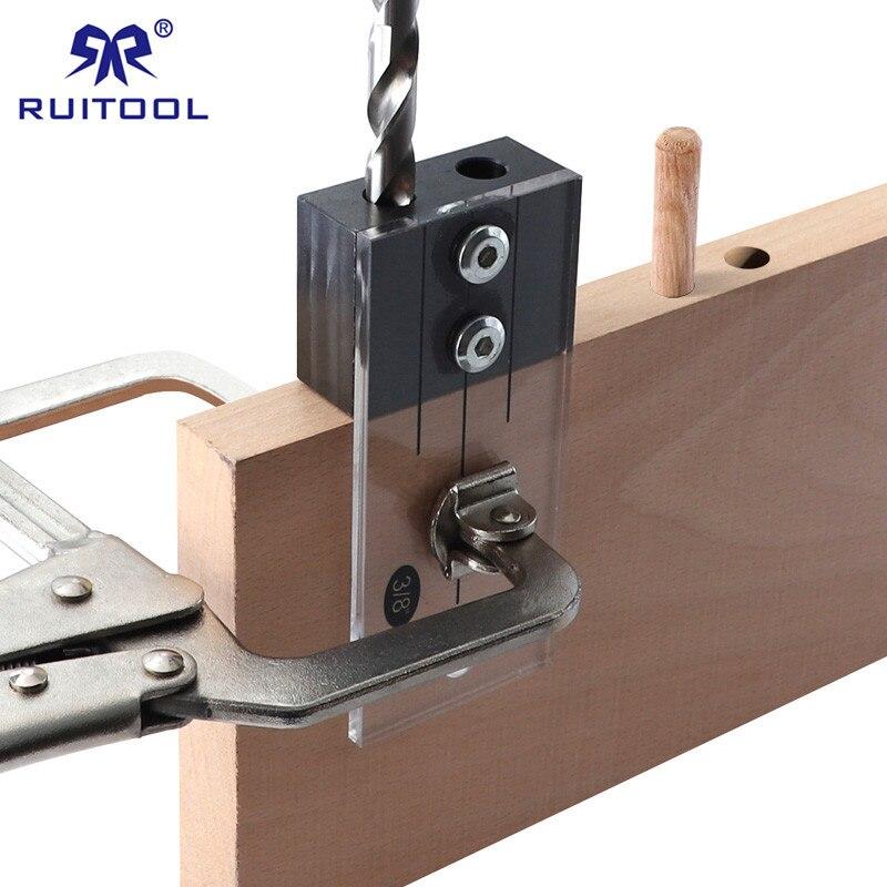 Gabarit de cheville en acier trempé acrylique gabarit de poche 1/2 3/8 1/4 Guide de forage Vertical localisateur de trou pour outils de travail du bois