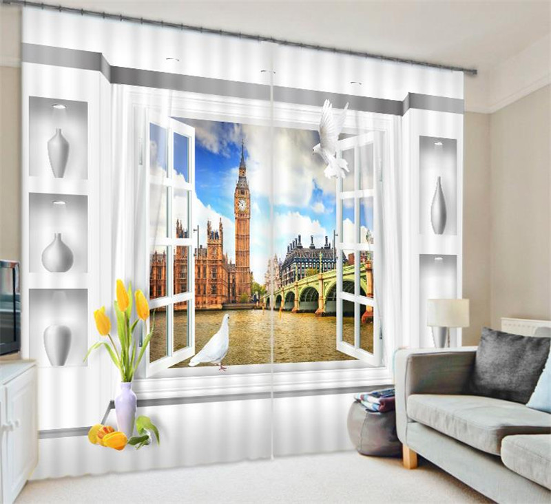 Big Ben 3D Blackout Window Curtains For Living room Bedding room Hotel/Office Curtain Drapes Cortinas para salaBig Ben 3D Blackout Window Curtains For Living room Bedding room Hotel/Office Curtain Drapes Cortinas para sala