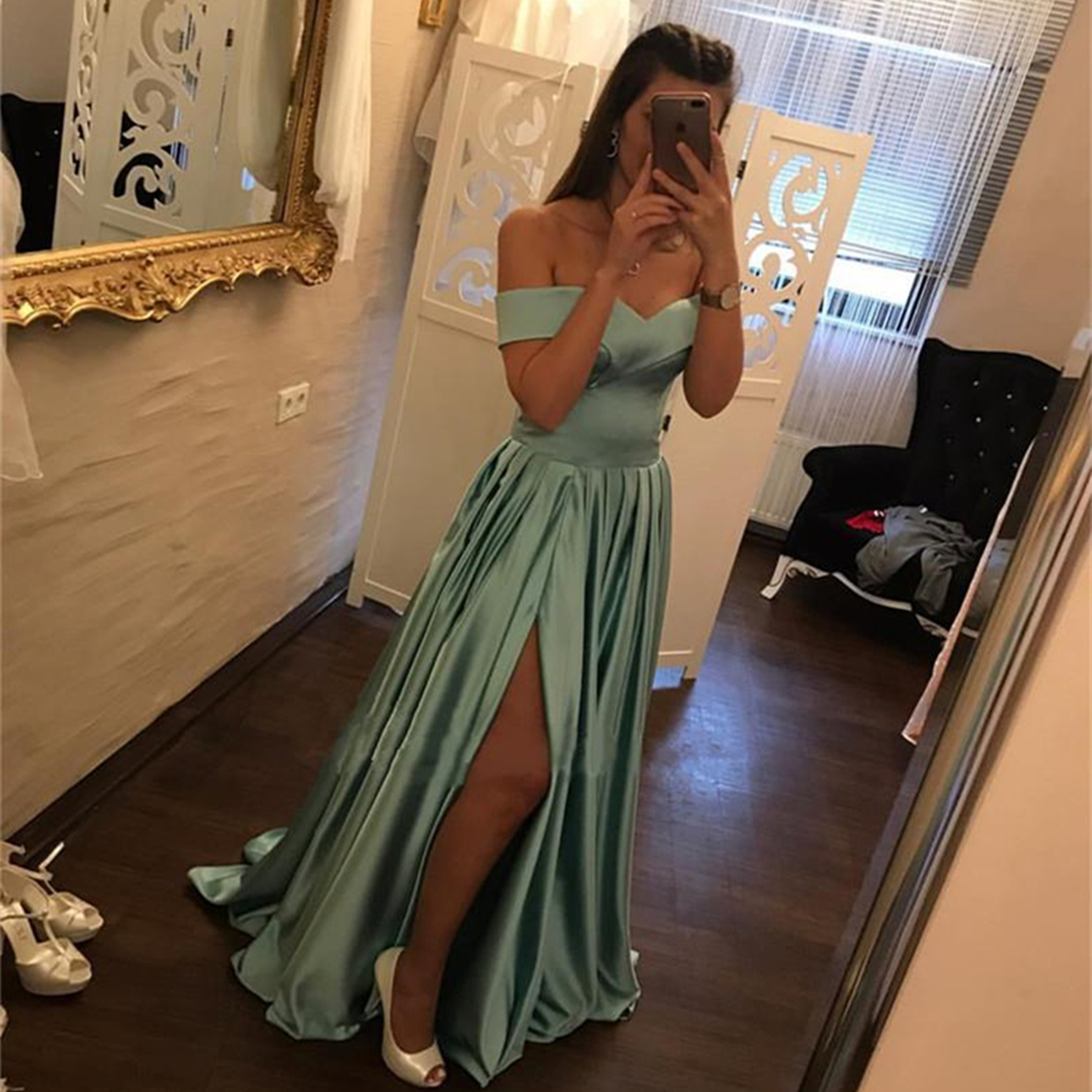 New 2019 Long   Bridesmaid     Dresses   Boat Neck A Line High Split Sexy Wedding Party   Dress   Cheap Women Summer Party Gowns