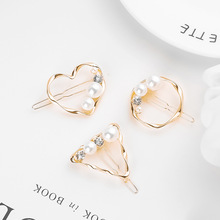 Factory direct pearl hairpin Europe and America cross-border hair accessories minimalist geometric round triangle love side clip