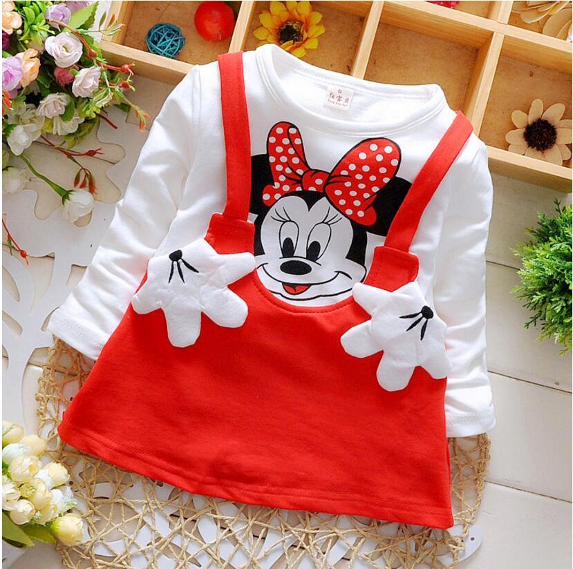 New baby dress newborn clothing for girls spring autumn children dresses cartoon minnie dress cotton long sleeve