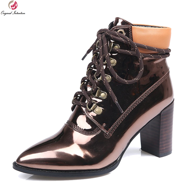 Original Intention Elegant Women Boots Real Leather Square Heels Boots Black Bronze Gold Silver Shoes Woman Plus US Size 3-10.5 equte rssc4c99s5 fashionable elegant titanium steel women s ring black us size 5
