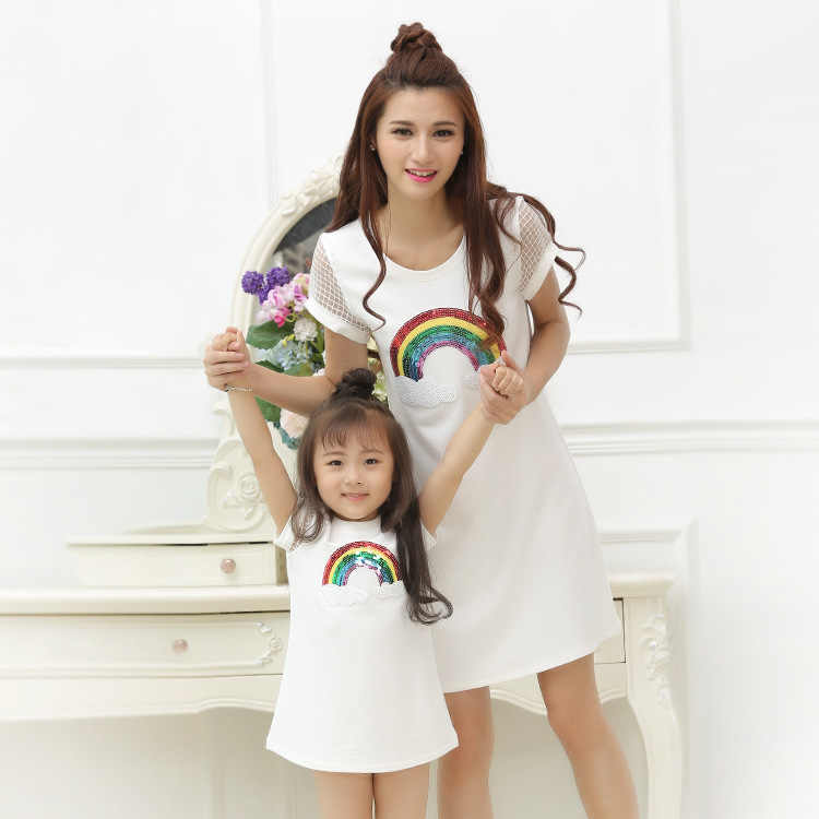 a096f570beb Family matching mother daughter mommy and me clothes rainbow family look  korean fashion clothing wear girls