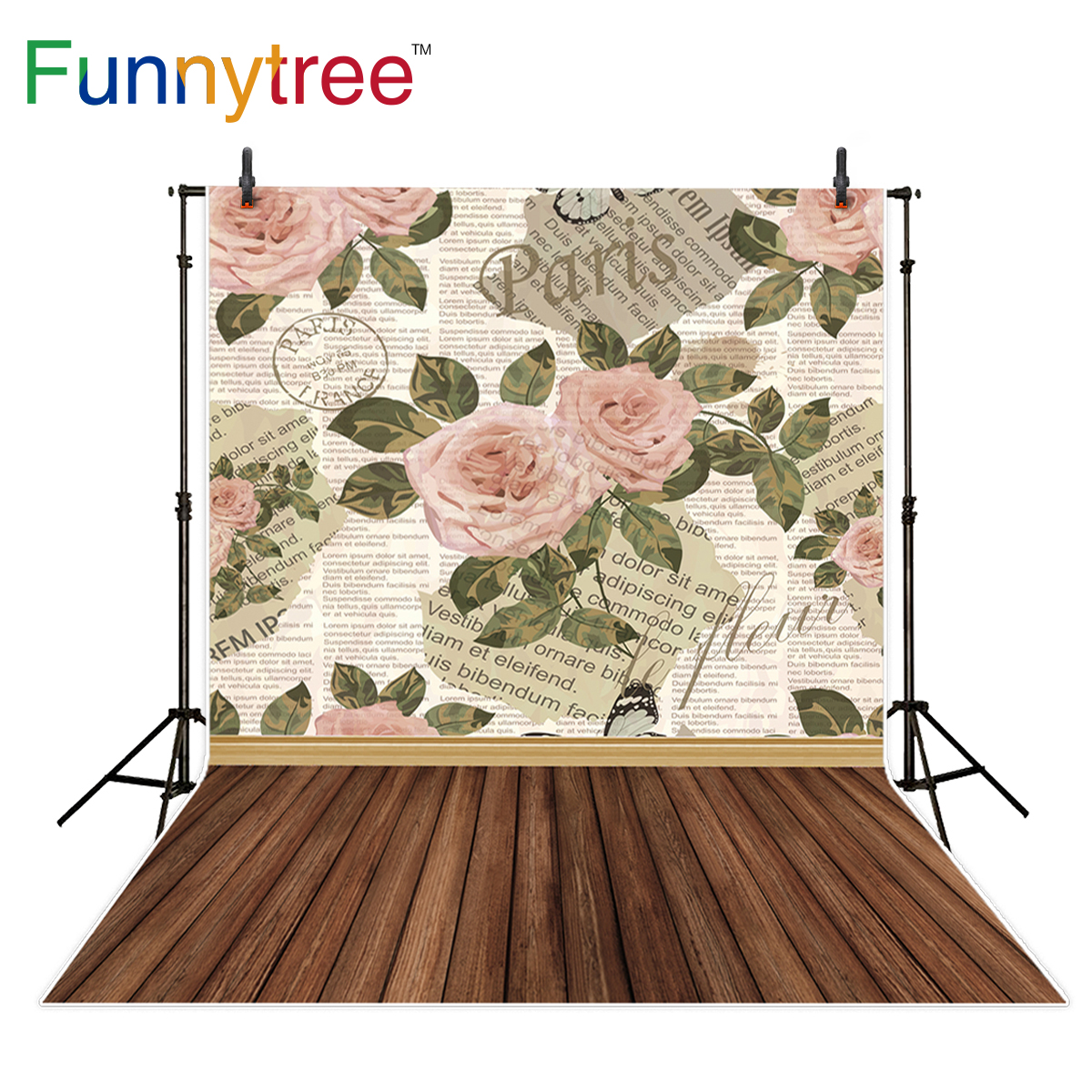 Funnytree photography backdrop pink rose old letter paris newspaper wood floor background photo studio photobooth photo prop